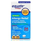 Equate Loratadine Tablets 10Mg Antihistamine Non-Drowsy 24 Hour Allergy Relief 60 Ea
