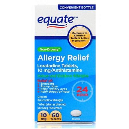 Equate Loratadine Tablets 10Mg Antihistamine Non-Drowsy 24 H