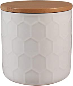 Ceramic Food Storage Jar 4.5 Inch 28 oz - Bee by CIROA   White Canister Bamboo Lid with Airtight Silicone Seal, Perfect for Tea, Coffee, Spices or Snacks