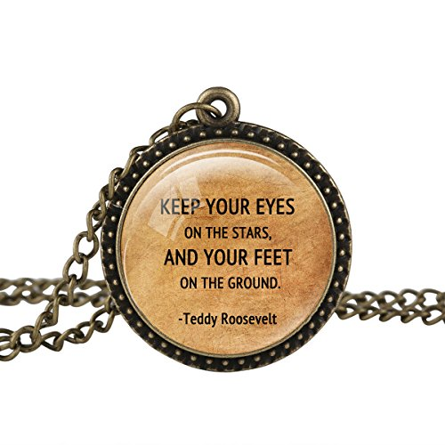 Teddy Roosevelt Glasses Costume (FM42 Vintage Style Stars & Ground Teddy Roosevelt Inspirational Quote Pendant Necklace TN2412)