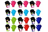 S.W.A.K Kids Girls Magic Lol OMG Emoji Printed Winter Pair Gloves 12 2-Packs 5 Colors One Size - 24 Pairs of Gloves
