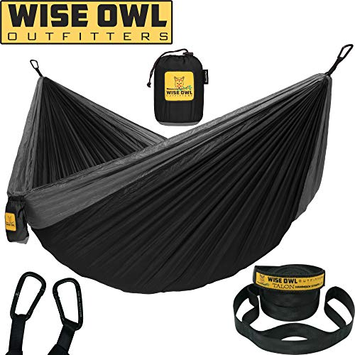 Wise Owl Outfitters Hammock for Camping Single & Double Hammocks Gear for The Outdoors Backpacking Survival or Travel - Portable Lightweight Parachute Nylon DO Black & - Owls Rock