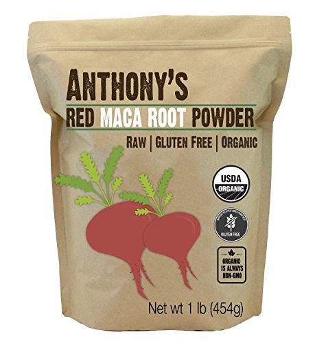 Anthony's Organic Red Maca Powder, 1lb, Raw, Gluten Free, Non GMO, Non Gelatinized (Best Red Maca Powder)