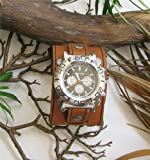 KEY WEST 2″ WIDE AGED BROWN LEATHER RIVET WATCHBAND, WRISTBAND, Watch Central