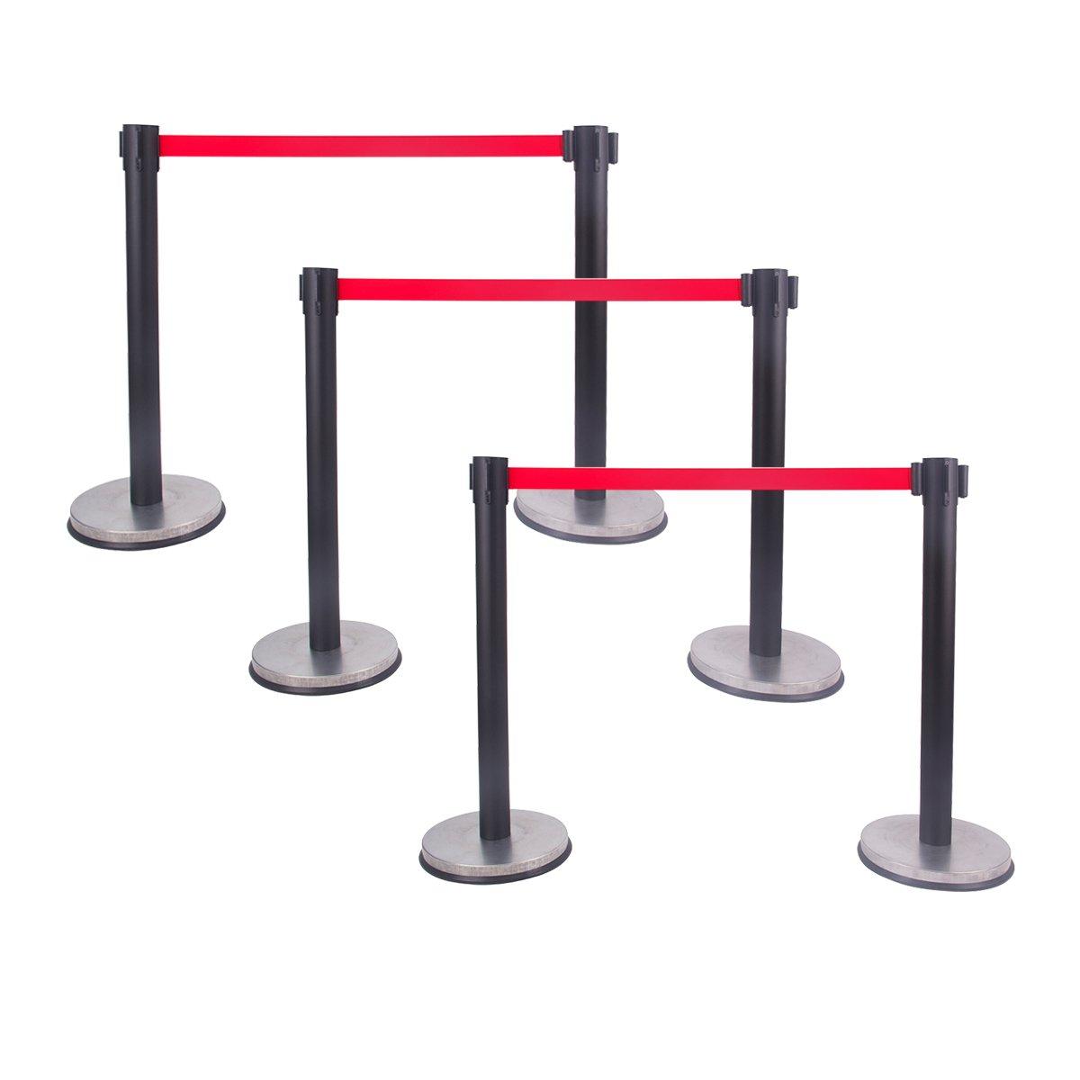 Black Stanchion Set Posts Queue Pole Retractable Red Belt Crowd Control Barrier New (6)