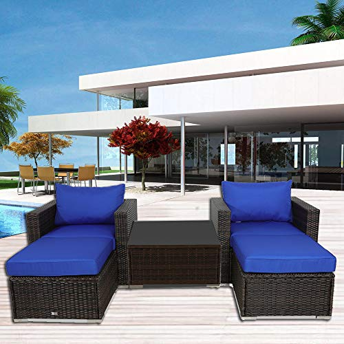 Outime Patio Furniture Sofa 5pcs Brown Rattan Wicker Couch Set Garden Sectional Home Furniture w/Coffee Table Royal Blue Cushion from Outime