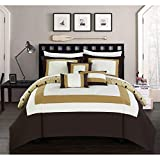 Chic Home Jake 10 Piece Comforter Set Reversible Hotel Collection Color Block Geometric Pattern Print Design Bed in a Bag Bedding – Sheets Decorative Pillows Shams Included Queen Gold