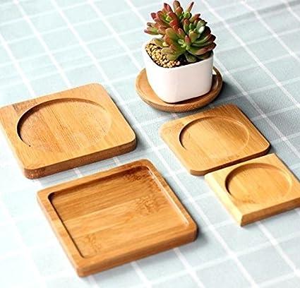 Bandejas para macetas de productos únicos de bambú redondo cuadrado platos platos para macetas suculentas,