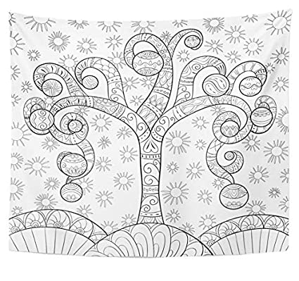emvency tapestry polyester fabric print home decor coloring page book for adults and children christmas tree