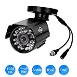 Hiseeu HD 1000 TVL 24PCS IR LEDS Surveillance MINI CCTV Camera 3.6mm Lens with IR CUT Bullet Outdoor Security Camera, Aluminum Metal Housing, Surveillance Camera for Home