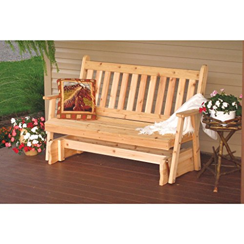 (A & L Furniture Co. Western Red Cedar 5' Traditional English Glider - Ships Free in 5-7 Business Days)