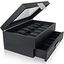 Watch Box with Valet Drawer for Men - 12 Slot Luxury Watch Case Display Organizer, Carbon Fiber Design for Mens Jewelry Watches, The Men's Storage Boxes Holder Boasts a Large Glass Top, Metal Buckle by Glenor Co