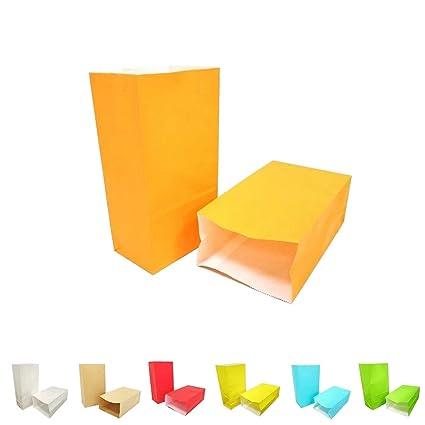 KIYOOMY 50 CT Party Favor Printed Paper Gift Bags Orange Kraft Paper Bags for Kid's Halloween