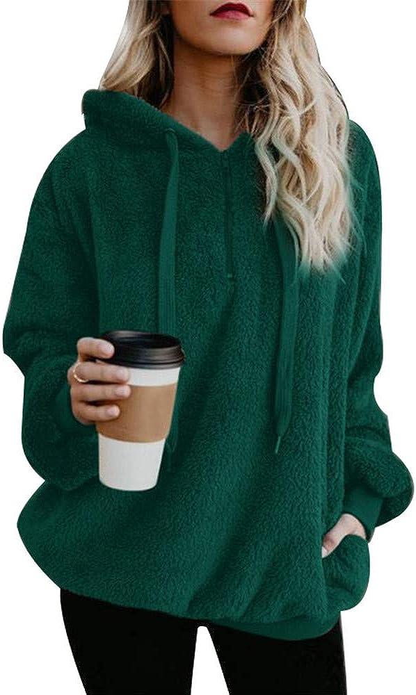 BEUHOME Womens Coat Ladies Casual Loose Faux Wool Long Sleeve Winter Warm Fluffy Fleece Zipper Oversize Top Hoodie Sweatshirt Pullover Jumper with Pockets