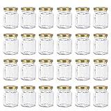 24 Pack 3 oz 90 ml Hexagon Mini Glass Canning Jars,Jam Jars