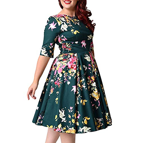 moonsix Women's Plus Size Vintage Floral 3/4 Sleeve Casual Swing Dress, Green(Floral), 6XL(US 20)