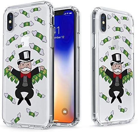 La Mejor Funda Compatible con iPhone X/iPhone XS Monopoly Man Flying Cash Caso, Impreso en Cubierta híbrida Transparente rígida + Suave Delgado Protector Duradero a Prueba de Golpes TPU Bumper Cover: Amazon.es: