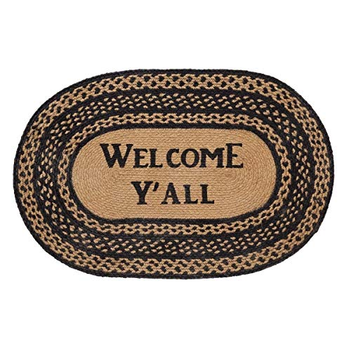 (Oval Jute Rug Welcome Mat, Farmhouse Theme Welcome Y'all Stencil Print Reversible Area Rug, Black Tan Braided Border Floor Mat Indoor Country Kitchen, 20