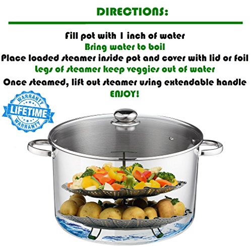 UNIQUE Vegetable Basket - EXTENDABLE - Fits Pressure Cooker 6 & 8 Quart 100% BONUS Accessories eBook + Instapot Rack