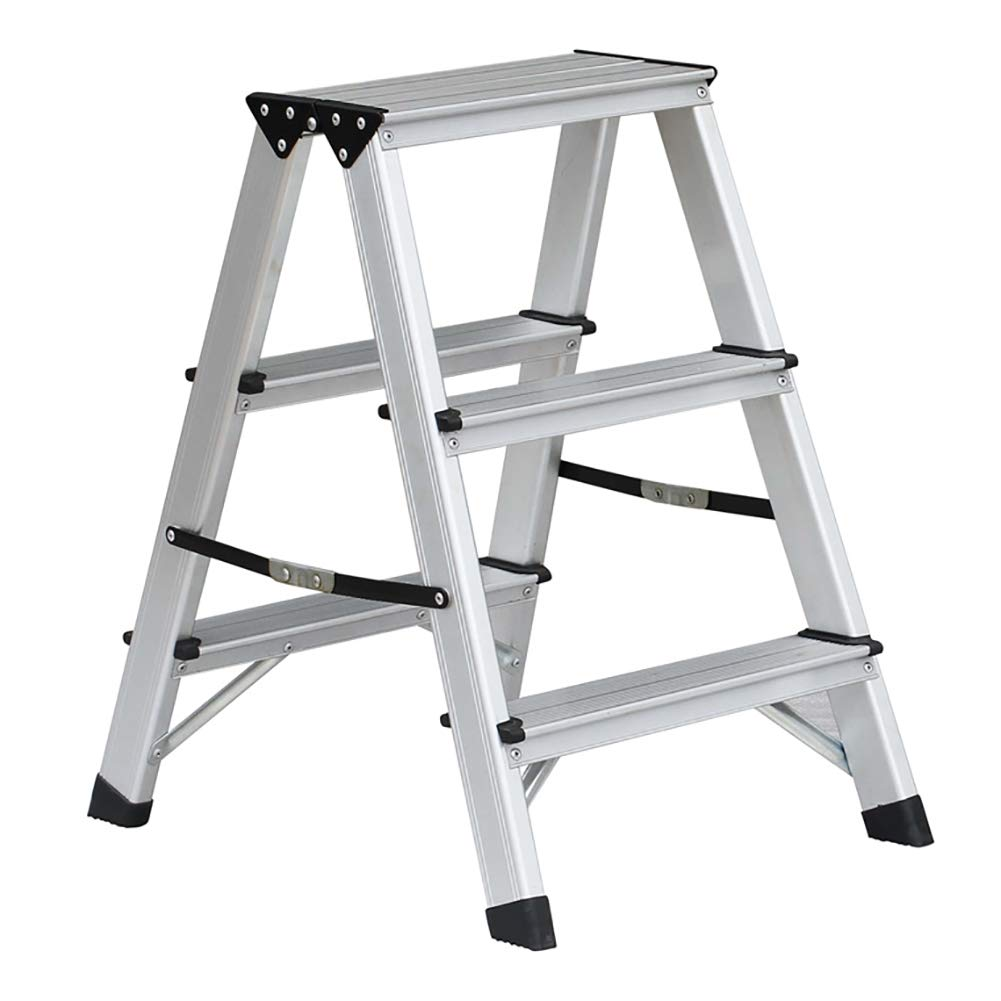 LXF Step stool Step Stool Household Folding Step Stool Aluminum Alloy Kitchen Living Room Bedroom Multifunction Small Ladder Chair