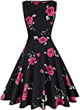 Material: 95% Cotton 5% Spandex, Comfortable for Skin Collar: Scoop neck Zipper: Back zipper Sleeve: Sleeveless Style: Retro swing dress Length: Knee length Pattern: Floral print Features: Zipper Closure,Scoop Neck,Flroal Lace Contrast, Sleeveless,Vi...