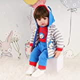 TiaNara Reborn Baby Doll Toddler Gifts 24 inch Realistic Real Like Boy Blue Monkey Outfit with White...