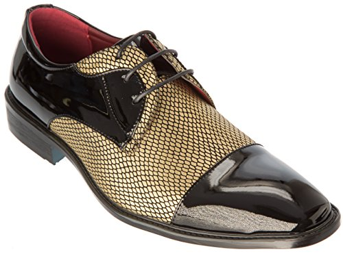Alberto Oxfords Gold Fellini Business Mens Dress Shoes Formal Fashion Leather Patent Cap Black Toe or rEE6qZ