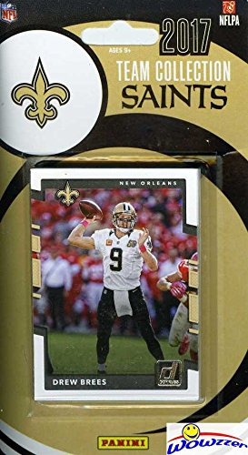 New Orleans Saints 2017 Donruss NFL Football Factory Sealed Limited Edition 12 Card Complete Team Set with Drew Brees, Adrian Peterson, Ted Ginn Jr. & Many More! Shipped in Bubble Mailer! WOWZZER! (Bree Bubbles)