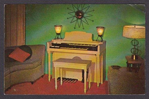 (Conn Minuet Spinet Organ Netzow Piano Studio City CA advertising postcard 1955)