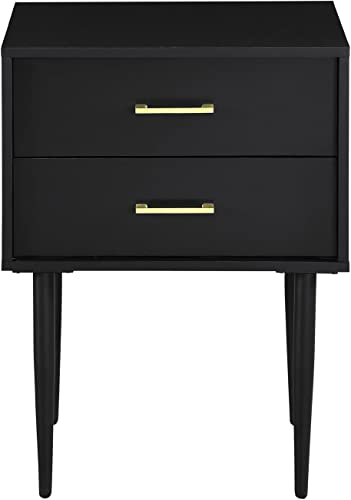 Walker Edison Furniture Company 20 Olivia Two-Drawer Side Table Nightstand – Black