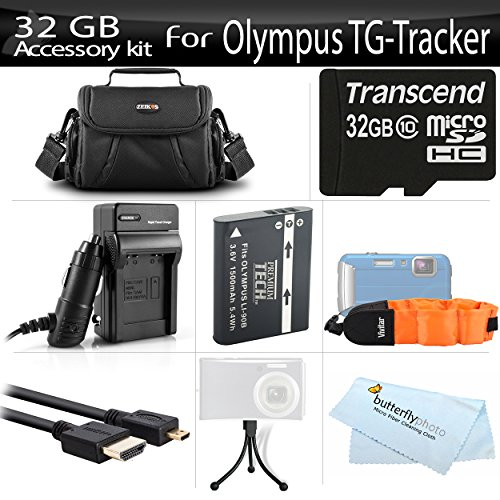 32GB Accessories Kit For Olympus Stylus Tough TG-Tracker Act