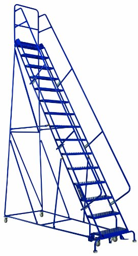 Price comparison product image Louisville Ladder GSW2415 Rolling Warehouse Ladder with 24-Inch Step Width and Handrails, 150-Inch Platform Height, 15-Step
