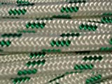 "7/16"" Double Braided Polyester Rigging Line White/green, Available in 100 ft, 150 ft and 300 ft"