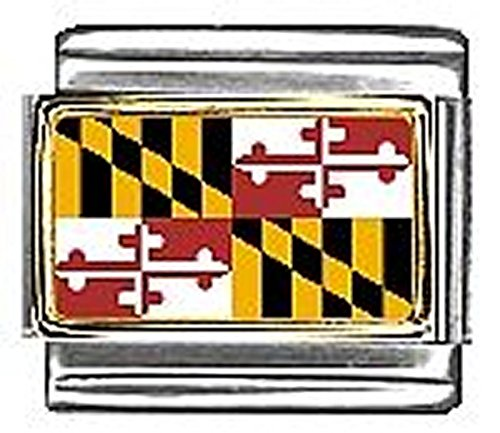 State of Maryland Photo Flag Italian Charm Bracelet Jewelry Link