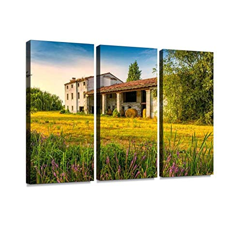 Italian Farmhouse and Flowers Print On Canvas Wall Artwork Modern Photography Home Decor Unique Pattern Stretched and Framed 3 Piece