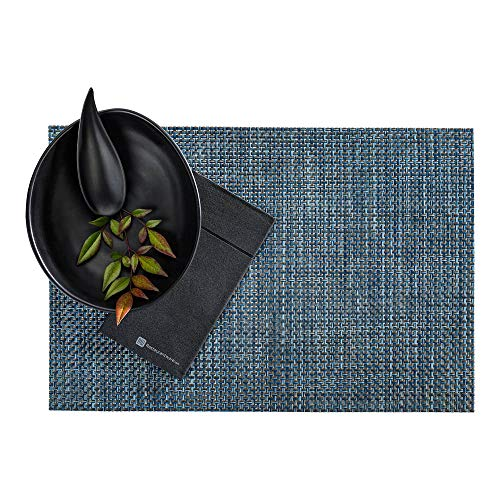 Restaurantware RWA0431 Amalfi Basketweave Baltic Blue Vinyl Woven Placemat 16