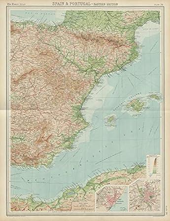 España Oriental. Islas Balearic. Madrid Barcelona The Times 1922 - Mapa Antiguo Vintage Impreso mapas de Iberia: Amazon.es: Hogar