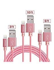 QSStech iphone Charger 3PCS 3FT 6FT 10FT Nylon Braided Lightn...