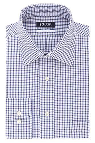 Chaps Mens Dress Shirt Regular Fit Stretch Collar Check