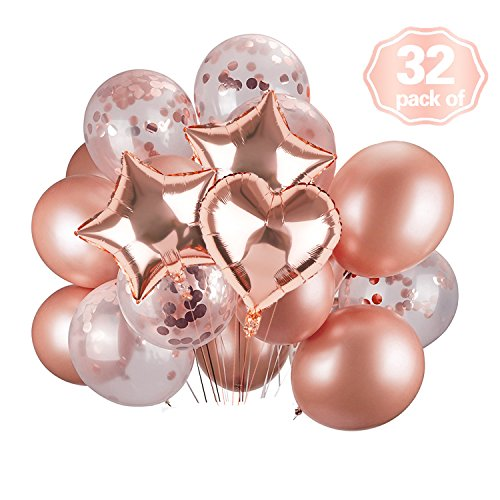 Rose Gold Confetti Balloons & Foil Balloons Perfect