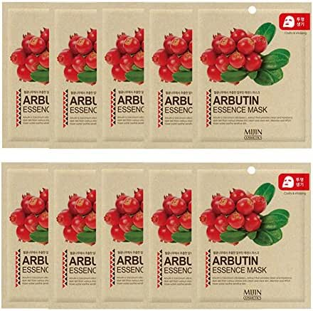Highly-Concentrated Arbutin Collagen Essence Full Face Facial Mask Sheet, Korean Beauty Cosmetics, 10 Pack