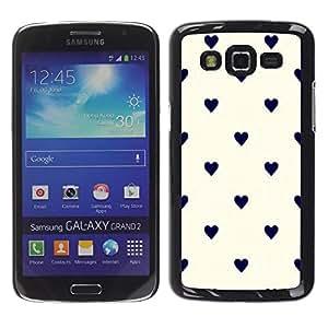 FECELL CITY // Duro Aluminio Pegatina PC Caso decorativo Funda Carcasa de Protección para Samsung Galaxy Grand 2 SM-G7102 SM-G7105 // Polka Dot Black Beige White