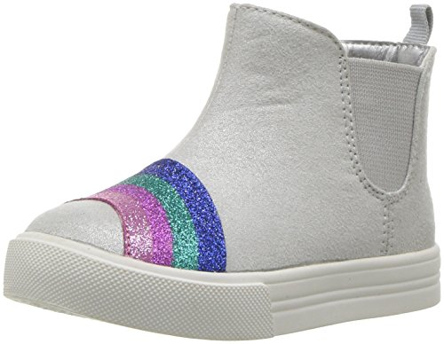 Oshkosh B'Gosh  Girls' Nena Mid Top Sneaker, Silver, 6 M US (High Top Baby Booties)