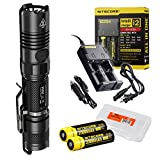law enforcement car organizer - Nitecore Premium Bundle: 6 Items P12GT 1000 Lumens Compact Tactical LED Flashlight, 2 x 18650 Rechargeable Batteries, i2 Two Channel Smart Charger, Car Charger Adapter, Lumentac Battery Organizer