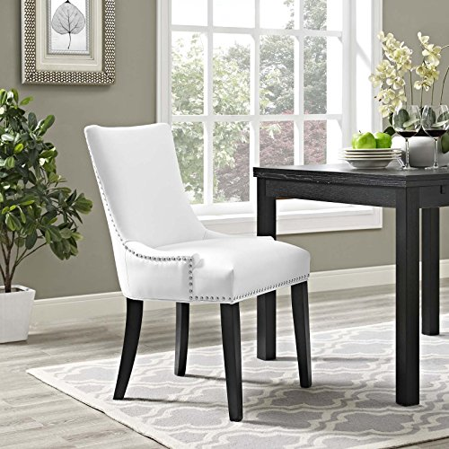 Modway MO-EEI-2228-WHI Marquis Modern Faux Leather Upholstered with Nailhead Trim, Dining Chair, White