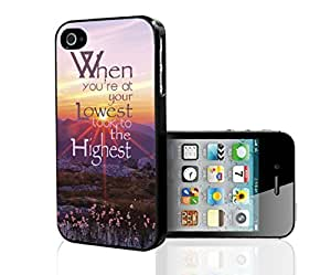 """""""When You're At Your Lowest Look to the Highest"""" Beautiful Quote with Pink Sunset Background, Purple Meadows, and Wild Flowers. Hard Sanp on Phone Case (iPhone 5/5s)"""