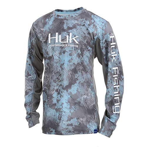 Huk Youth Icon X Camo Long Sleeve Shirt, SubPhantis Glacier, Youth X-Large
