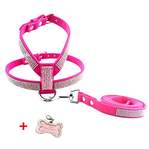 """PETCARE Sparkly Rhinestone Dog Harness & Leash Set Soft PU Leather Shining Diamonds Pet Collar Harnesses for Small Medium Dogs (L(Adjustable Chest 14.9""""-18"""" Neck 9.4""""-12.2""""), Pink)"""