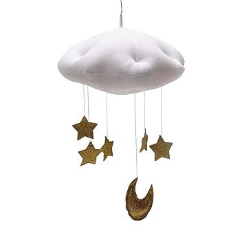 Yeahibaby Baby Mobile Bett Mobile Weisse Wolken Golden Mond Sterne