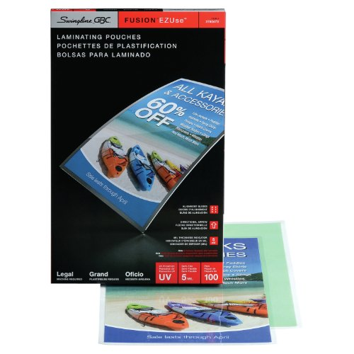 Swingline GBC Thermal Laminating Sheets / Pouches, Legal Size, 5 Mil, EZUse, 100-Count (3740473)